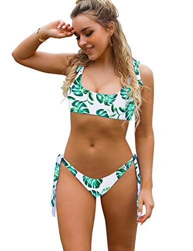 Blooming Jelly Womens Two Piece Swimsuits Tie Knot Padded Push Up Brazilian Thong Cheeky Bikini Set (Large, Leaf Print) (Lined Fully Bikini Low Rise)