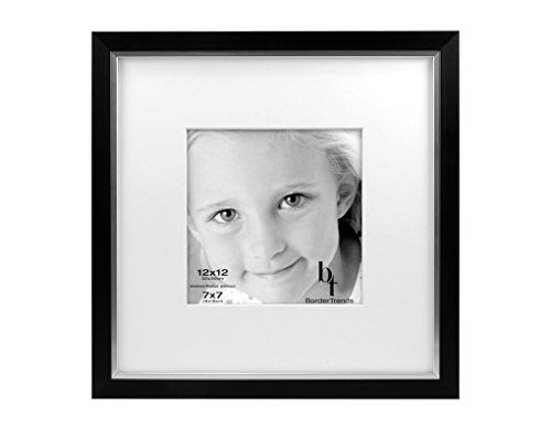BorderTrends Legacy 12x12/7x7-Inch Photo Frame, Black with White Mat (Square Legacy)
