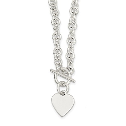 ICE CARATS 925 Sterling Silver Engraveable Heart Disc On Link Toggle Chain Necklace Fancy Fine Jewelry Ideal Mothers Day Gifts For Mom Women Gift Set From Heart by ICE CARATS