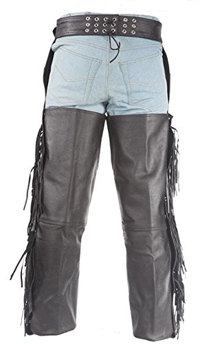 Ladies Lined Leather Chaps with Braid and Fringe 7XL