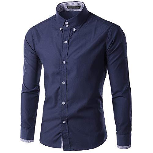 LEXUPA Men Blouse New Recreational Button Long Sleeve Shirt Fashion Pure Long Sleeve Top Darkblue (Akademiks Striped Polo Shirt)
