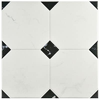 "SomerTile FEM13BTB Areba Ceramic Floor and Wall Tile, 13.125"" x 13.125"", Black/White"