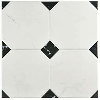 "Somertile Fem13btb Areba Ceramic Floor & Wall Tile, 13.125"" X 13.125"", Blackwhite 0"