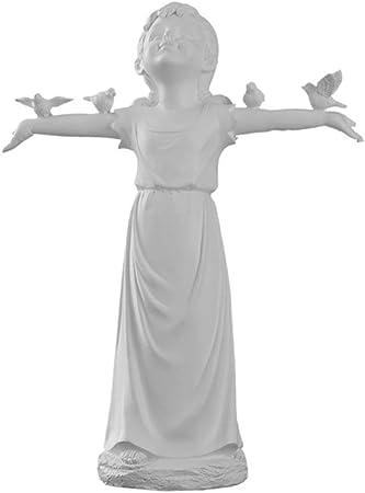 zenggp Hada Chica Y Pájaro Escultura Personaje Estatua Jardín Ornamento Estatua Patio Decoración,Height30cm: Amazon.es: Hogar