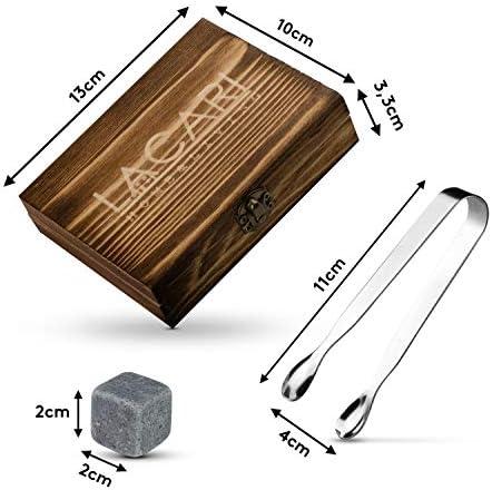 LACARI Juego de Piedras para Whisky | [9x] Cubos de hielo reutilizables | Juego de regalo para whisky con caja de madera, pinzas y bolsa de tela | No hay que aguar el whisky, ron, ginebra
