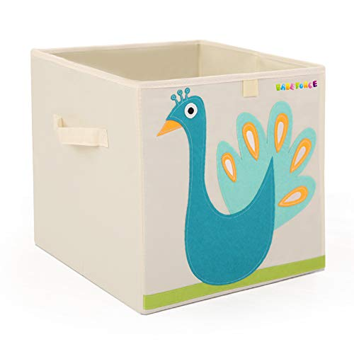 Foldable Storage Bins 13 Fabric Cube Box, | BabeForce-Organizer for Kids Toys, Stuffed Animals, Books & Clothes (Peacock)