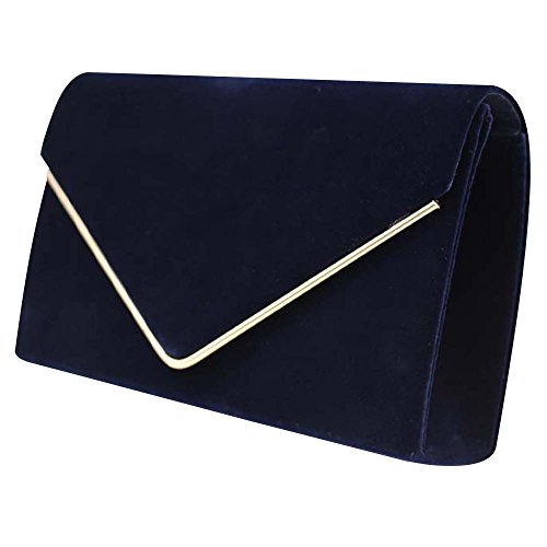 Prom Ladies Pleated Bag 1 New Handbag Womens Evening Bridal Suede Party Wocharm Clutch Blue Brand Navy velvet Luxury xwSqHXOI