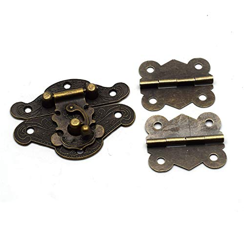 Antrader Retro Style Decorative Cabinet Jewelry Box Latch Hasps with Antique Bronze 2 Butterfly Hinge and 14 Screws