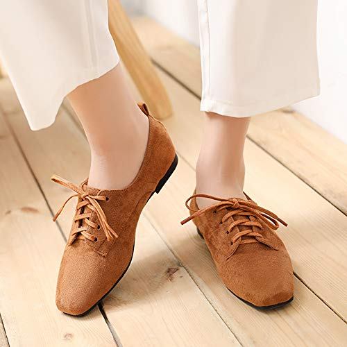 6ddc61e6150 Daim Casual Femme Marron Lacets Carrée Plate Ville Talon De Wealsex  Quotidienne Chaussures Petit Derby À ...