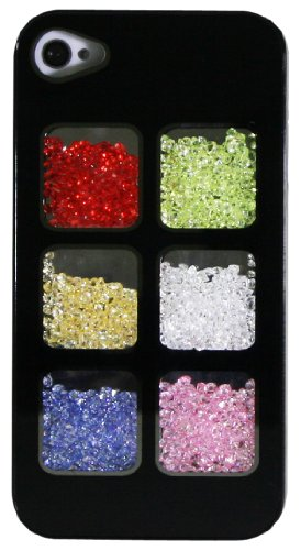 Exian iPhone 4 / 4s Case Multi-Coloured Crystals Black