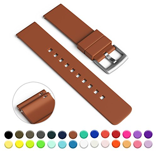 gadgetwraps-14mm-silicone-strap-band-for-pebble-time-round-watch-with-quick-release-pins-light-brown