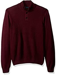 Men's Solid Textured Mock Neck Sweater