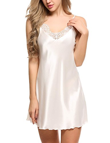 Ekouaer Women's Silk Chemise Satin Sleepwear Plus Size,White,Small