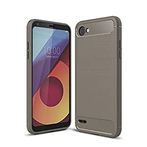 For LG Q6 Carbon Fiber Hybrid Heavy Duty Tough Strong Shockproof Case Cover (Grey)