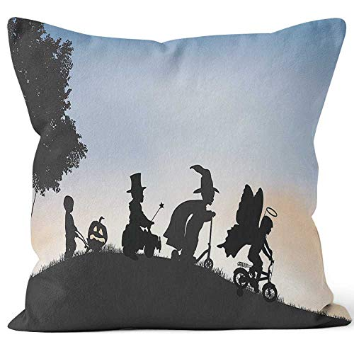 Nine City Silhouettes of Children Dressed up for Halloween Outside Home Decorative Throw Pillow Cover,HD Printing Square Pillow case