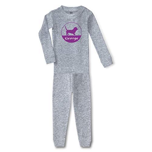 Personalized Custom Dog Name Animals Pets Cotton Crewneck Boys-Girls Infant Long Sleeve Sleepwear Pajama 2 Pcs Set Top and Pant - Oxford Gray, 5/6T