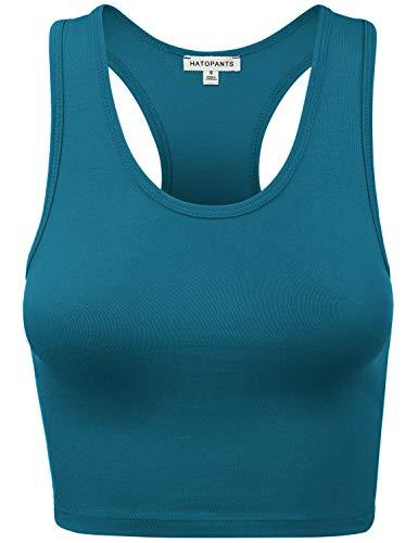 (HATOPANTS Women's Cotton Racerback Lingerie Camisoles Basic Crop Tank Tops Teal L)