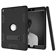 iPad 9.7 Inch 2017 Heavy Duty Case DWaybox Shock-Absorption 3 in 1 Combo Hybrid Armor Hard Back Case Cover for Apple iPad 9.7 Inch 2017 (All black)