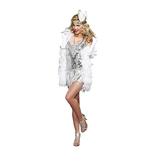 Halloween Flapper Costumes (Dreamgirl Women's Plus-Size Life's A Party, Silver, Small)