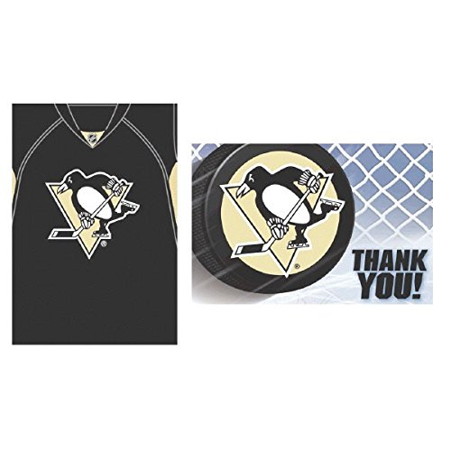 Price comparison product image Pittsburgh Penguins NHL Hockey Sports Party Invitations & Thank You Card Set, Pack of 16.