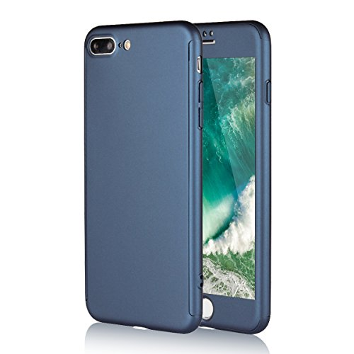 iPhone 7 Plus Case, Jaorty 360 Full Body Protection Hard Slim Case Coated Non Slip Matte Surface + Tempered Glass Screen Protector for Apple iPhone 7 Plus (5.5 inch) - Blue