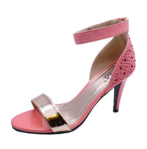 Damen Koralle Stiletto High-Heels zum reinschlüpfen Riemchensandalen Hochzeit Ball Schuhe Größen 3-8