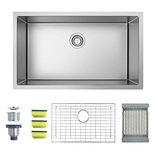 MENSARJOR 30'' x 18'' Single Bowl Kitchen Sink 16 Gauge Undermount Stainless Steel Kitchen Sink, Bar or Prep Kitchen - Sink Inch 30