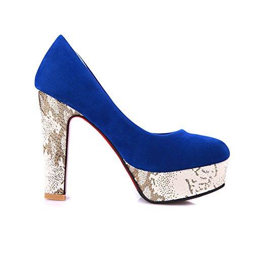 VogueZone009 Womens Closed Round Toe High Heel Chunky Platform Suede Pumps with Rhinestone Blue esUleVu5f7