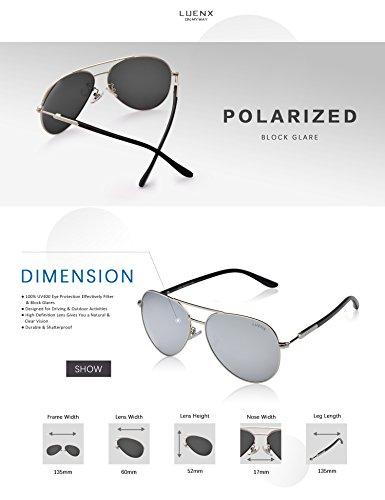conducción polarizado 6 gafas 60mm UV Aviador LUENX Protección el Hombre de sol plateado caso con de 400 AXx0fw