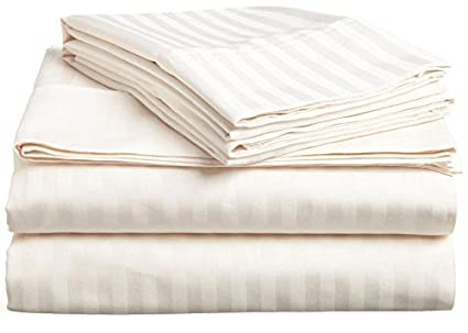 Bedding Series Sleeper Sofa Bed Sheet Set ( Stripe ) Egyptian Cotton Ivory  ( Full Size