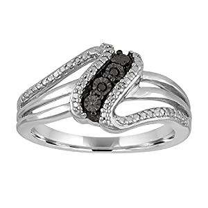 Sterling Silver Black and White Diamond Accent Ring In Size 7