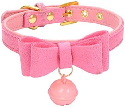 Exceart Bell Choker Sexuelle Kragen Bowknot Pu Leder Verstellbare Zurückhaltung Spielzeug für Männer Frauen Paare