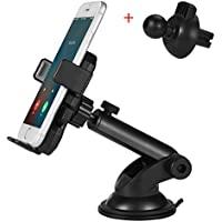 360° Full Rotation Universal Dashboard Windshield Phone Holder & Air Vent Car Holder Mount Cradle with One Button Design for iPhone X 8/8s 7 Plus 6s 6 SE Samsung Galaxy S8 Plus Edge S7 S6 Note 8 HUWEI