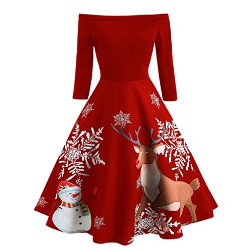 FEDULK Christmas Womens Off Shoulder Snowman Print Vintage Evening Party Dress Flare Dress(Red, US Size M = Tag L)