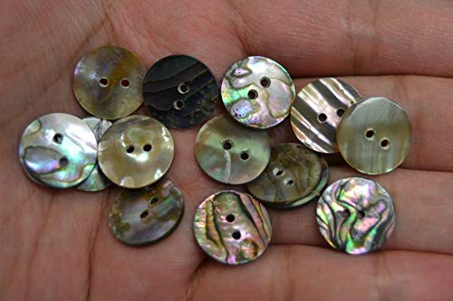 - OutletBestSelling Polished Sea Shells \ Beach Shells 12 PCS Round Abalone Shell Sewing Two Holes Buttons 15MM #2293