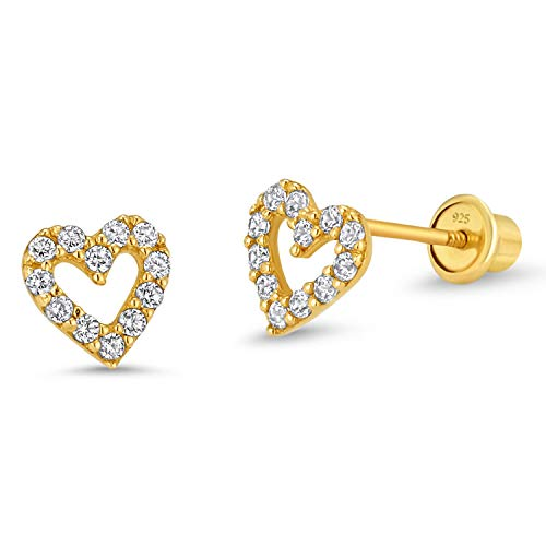 14k Gold Plated Brass Open Heart Cubic Zirconia Screwback Girls Earrings with Sterling Silver Post