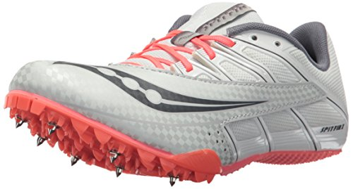 Saucony Women's Spitfire 4 Track and Field Shoe, Silver/Pink, 6.5 Medium US