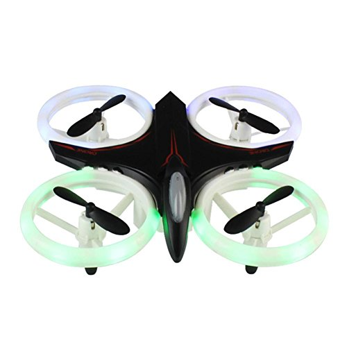 Dacawin Mini RC Drone 2.4Ghz 4CH 6-Axis GYRO UFO Quadcopter Headless LED Attitude Hold (Black, ONE) by Dacawin