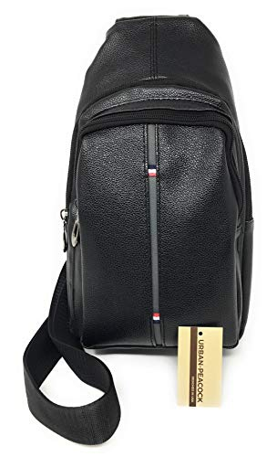 - Urban-Peacock Compact Leather Sling Bag & Cross-body Chest or Shoulder Backpack (Black)