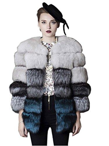 YR Lover Damen Winter Echter Fuchs Pelz Multi 3 Color Mode MD-Lange Mantel