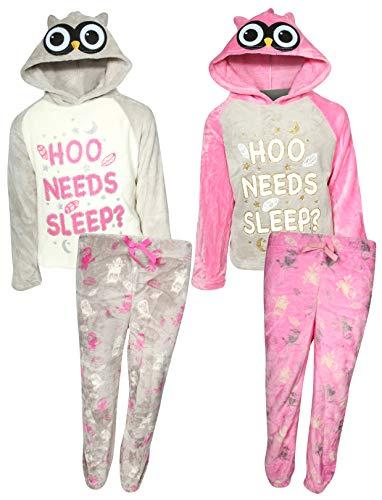 dELiA*s Girls' 4-Piece Flannel Fleece Pajama Set with Animal Hood, Owl, Size -