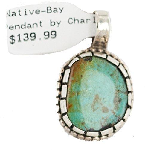 $140 Retail Tag Handmade Authentic Silver Navajo Natural Turquoise Native American (Navajo Stone Pendants)