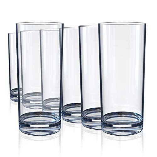 Drinking Glasses, Highball Glass Cups for Cocktails, Whiskey, Water, Juice, Beer, Wine, Glass Cups Glassware Heavy Base…