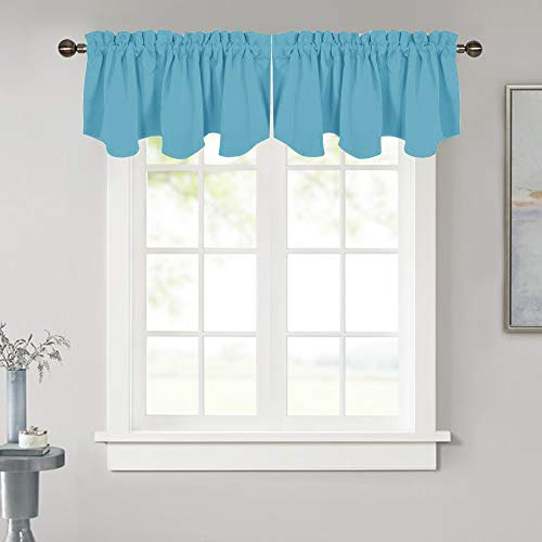 NICETOWN Blackout Window Drapery Curtain - 52-inch by 18-inch Energy Efficient Rod Pocket Valance Panel for Apartment, Teal Blue=Light Blue, 1 PC