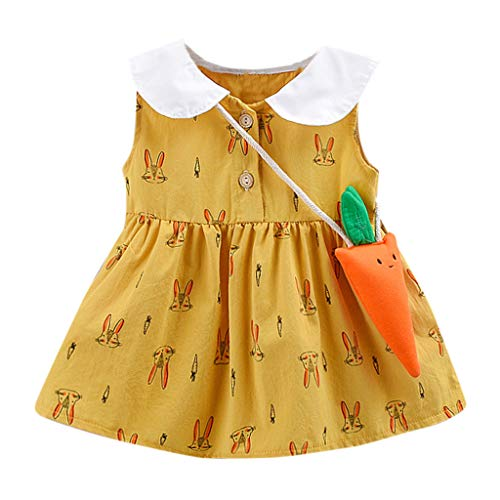 Infant Girl Swing Dress  Toddler Baby Doll Collar Button Up Sleeveless Vest Dresses with Carrot Bag  2pc Rabbit Print Clothes (12-18 Months, Yellow)