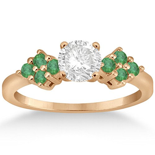 Green Emerald Floral Cluster Engagement Ring with Side Accents 18k Rose Gold Prong Setting (0.28 ct) (Emerald Cluster Ring Setting)