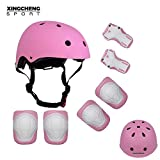 Toys : SLA-SHOP Kids Boys and Girls Protective Gear Set, Outdoor Sports Safety Equipment 7Pcs Child Helmet Knee &Elbow Pads Wrist Guards for Roller Scooter Skateboard Bicycle(3-8Years Old) (Pink)