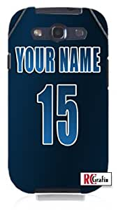DIY Personalized Blue Team Name and Number Jersey Unique Quality Hard Snap On Case for Samsung Galaxy S4 I9500 - White Case