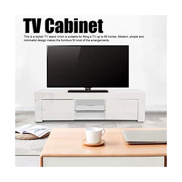 AYNEFY Meuble TV Blanc Moderne avec LED Bleu brillant (prise UE 220 V) (EU 220 V)
