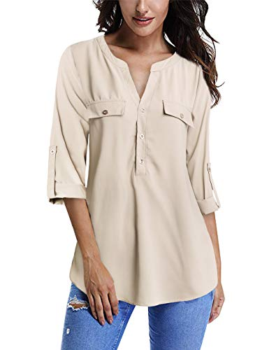 (FANSIC Women's Chiffon Blouses,V Neck Button Down Fake Pocket Light Pink Apricot XXL)